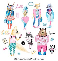 set of animals hipsters - fun bright collection of animals...