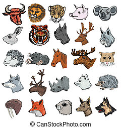 set of animals - set of illustrations of different kinds of...