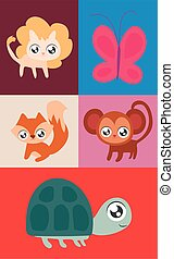 set of animals in kawaii style