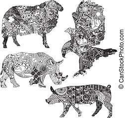 silhouettes of animals in the patterns on a white background