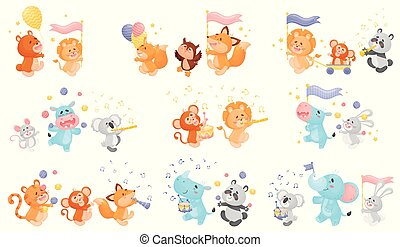 Set of animals in the parade. Vector illustration on a white background.