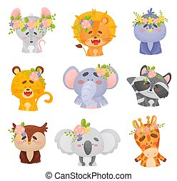 Set of animals in wreaths. Vector illustration on a white background.