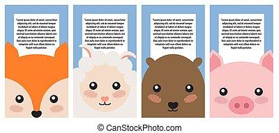 Set of Animals Portraits Color Vector Illustration