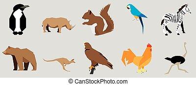 Set of animals, vector illustration