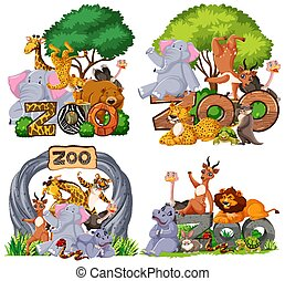 Set of animals with banner