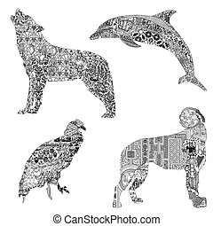 Set of animals with ethnic ornaments