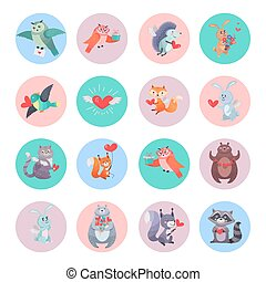 Set of Animals with Hearts. Valentines Day Concept