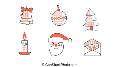 Set of animated looped Christmas New Year icons pictograms...