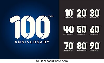 Set of anniversary logotype. Anniversary celebration design template for booklet, leaflet, magazine, brochure poster, web, invitation or greeting card.