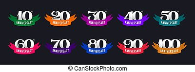 Set of anniversary signs from 10 to 100. Numbers and color ribbons on a dark background.