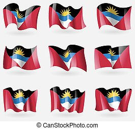Set of Antigua and Barbuda flags in the air. Vector