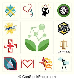 Set of antioxidant, ambition, muay thai, appetite, no water, lawyer, image  cross, dump truck, oops icons