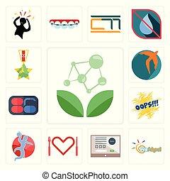 Set of antioxidant, preschool, online form, appetite, handball, oops, 86, swift, veteran icons