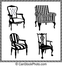 Set of antique chairs silhouettes - Collection of different...