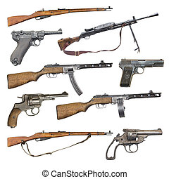 set of antique firearms weapons