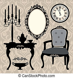 Set of antique furniture and object - Vector illustration of...