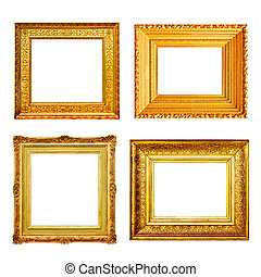 Set of antique gold frames isolated on white