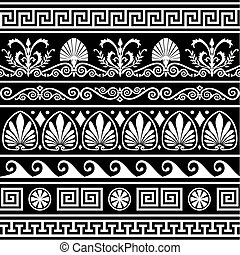 Collection of vector antique greek border ornaments. Elements isolated on black. Full scalable vector graphic, change colors as you like, included 300 dpi JPG.