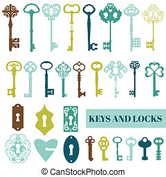 Set of Antique Keys and Locks - for your design or scrapbook - in vector