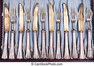 Set of antique kitchen silverware