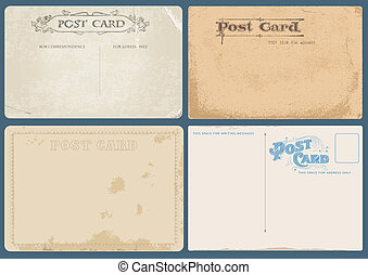 Set of Antique postcards in vector with Postal stamps- see ...