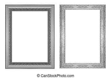 Set of antique silver gray frame isolated on white background, clipping path