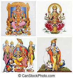 set of antique tiles with images of hindu gods