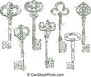 Set of Antique Vintage Keys in grunge style. Isolated on white background