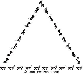 Set of ants shape triangle frame