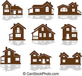 Set of apartment house icons in brown and white showing...