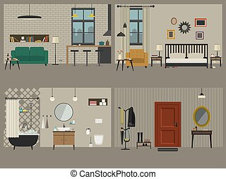 Set of apartment interiors with furniture icons.
