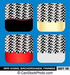 Set Of App Icon Backgrounds, Frames, Templates. Set 16. Vector