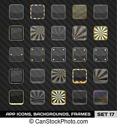 Set Of App Icon Frames, Templates, Backgrounds. Set 17. Vector Illustration