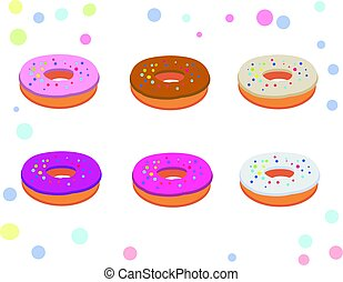Set of appetizing donuts