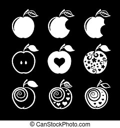 Set of apple icons and logos.