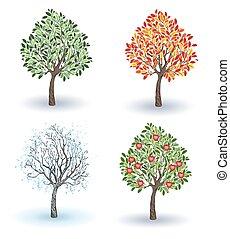 Set of apple trees