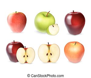 Set of apple with slices
