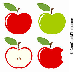 Set of apples - Apples. Set of red, green, bitten and half...