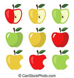 Set of Apples on White Background