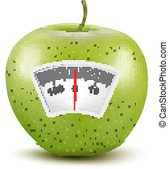 Set of apples with a weight scale. Diet concept. Vector.