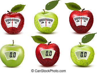 Set of apples with weight scales. Diet concept. Vector.