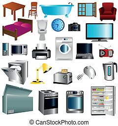 Set of appliances - Illustration of furniture and appliances...