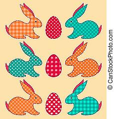 Set of application Easter rabbits
