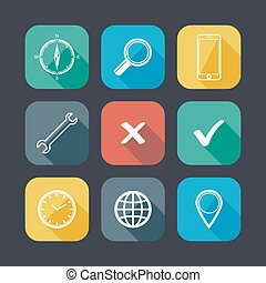 set of application web icons. flat design with long shadows