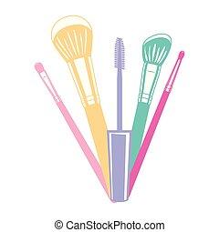 set of applicators and eyelashes make up brushes accessories...