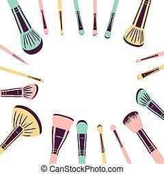 set of applicators make up brushes accessories frame vector ...