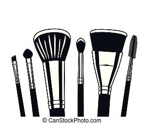 set of applicators make up brushes accessories vector ...