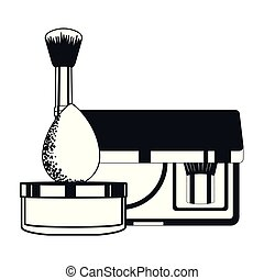 set of applicators make up brushes and cosmetics vector ...