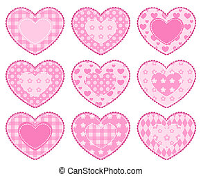 Set of applique hearts.