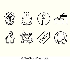 Approved, Cappuccino and Sale ticket icons. E-mail, Gifts and International love signs.